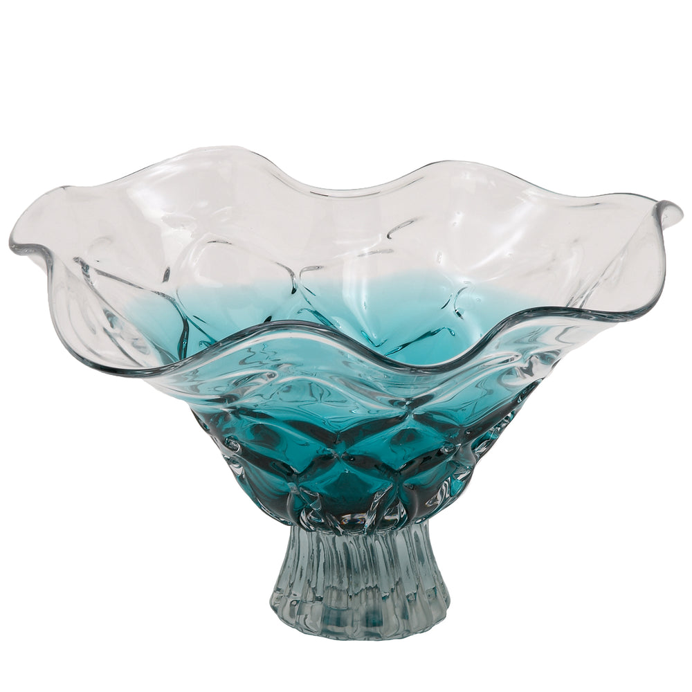 "Urban Designs Aqua 19"" Large Decorative Glass Bowl"