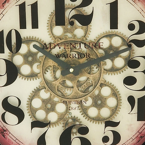 "Urban Designs Adventure Warrior London 18"" Industrial Moving Gears Round Wall Clock"