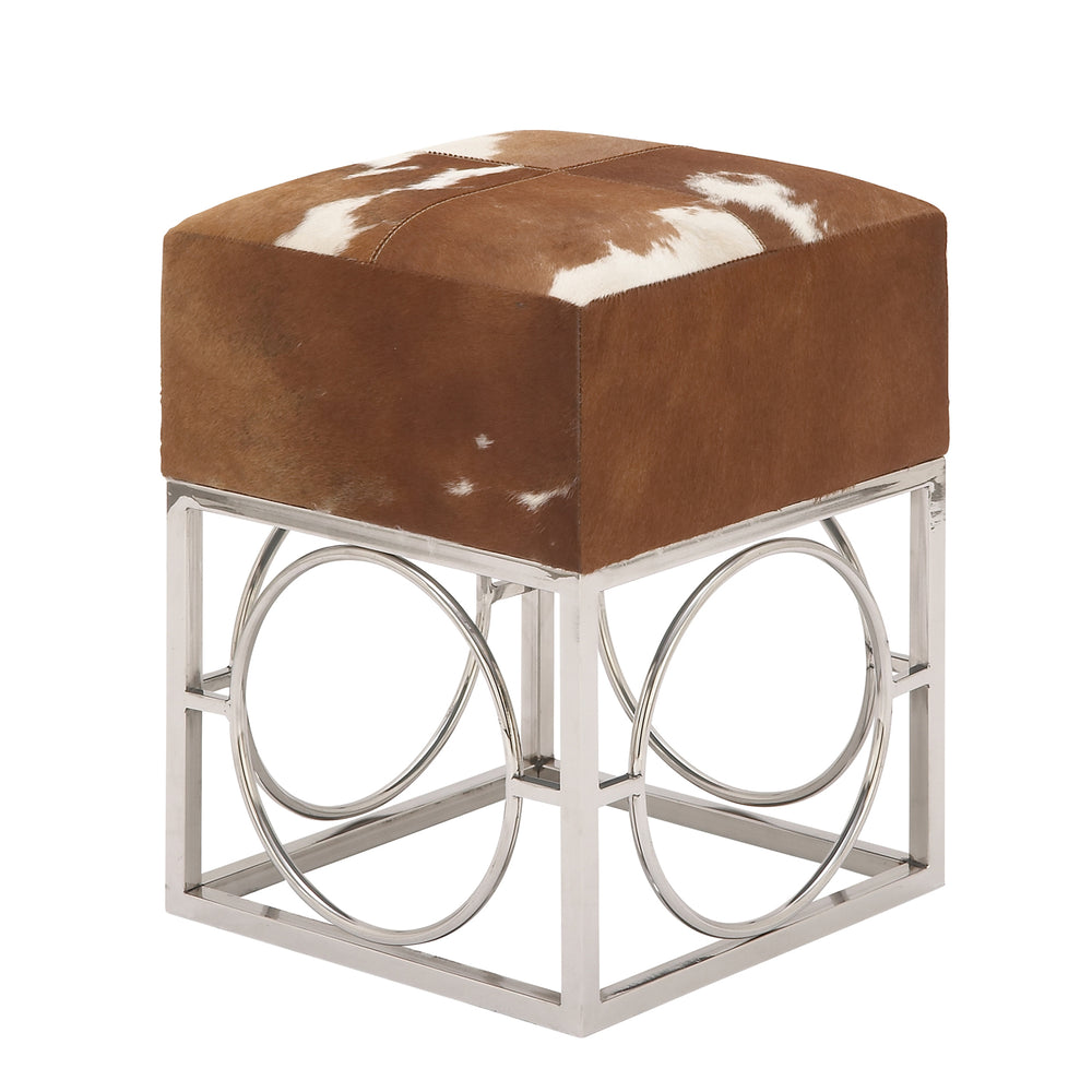 Urban Designs Cowhide Leather and Nickel 22-Inch Accent Ottoman Stool