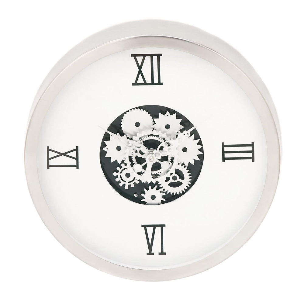 Urban Designs Industrial Gear White Round Wall Clock