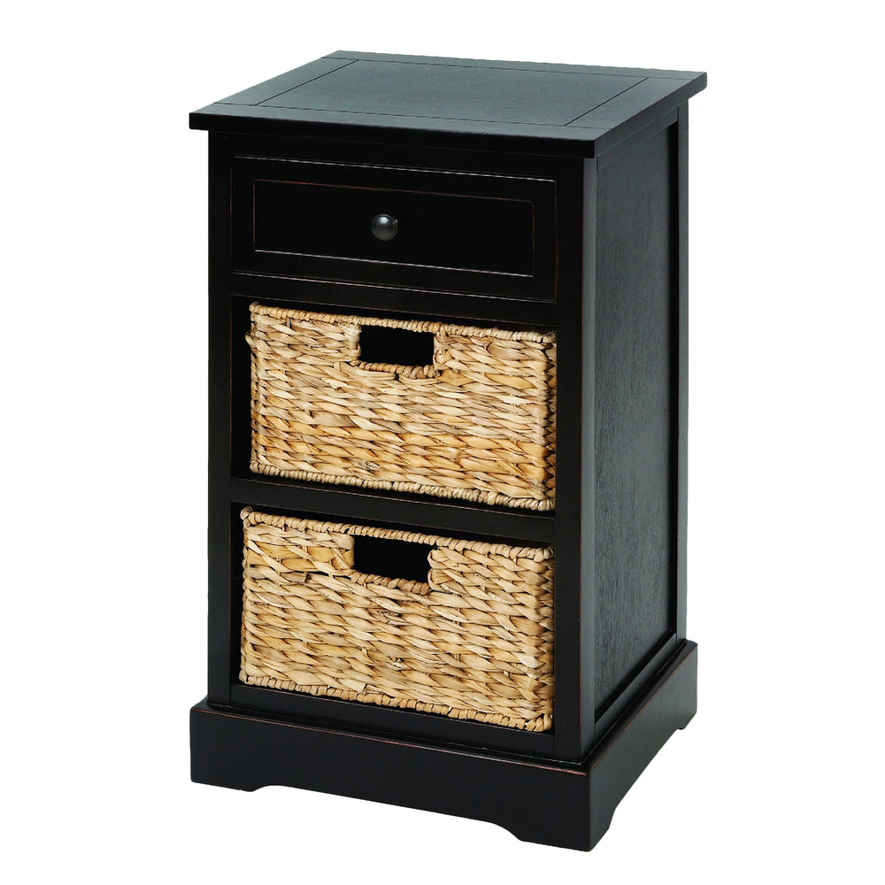 Urban Designs Malibu 3-Drawer Night Stand with Wicker Baskets - Espresso