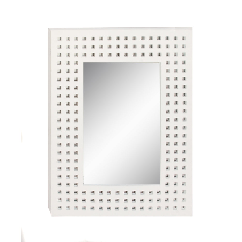 Urban Designs 31-Inch Rectangular White Lacquered Wall Mirror