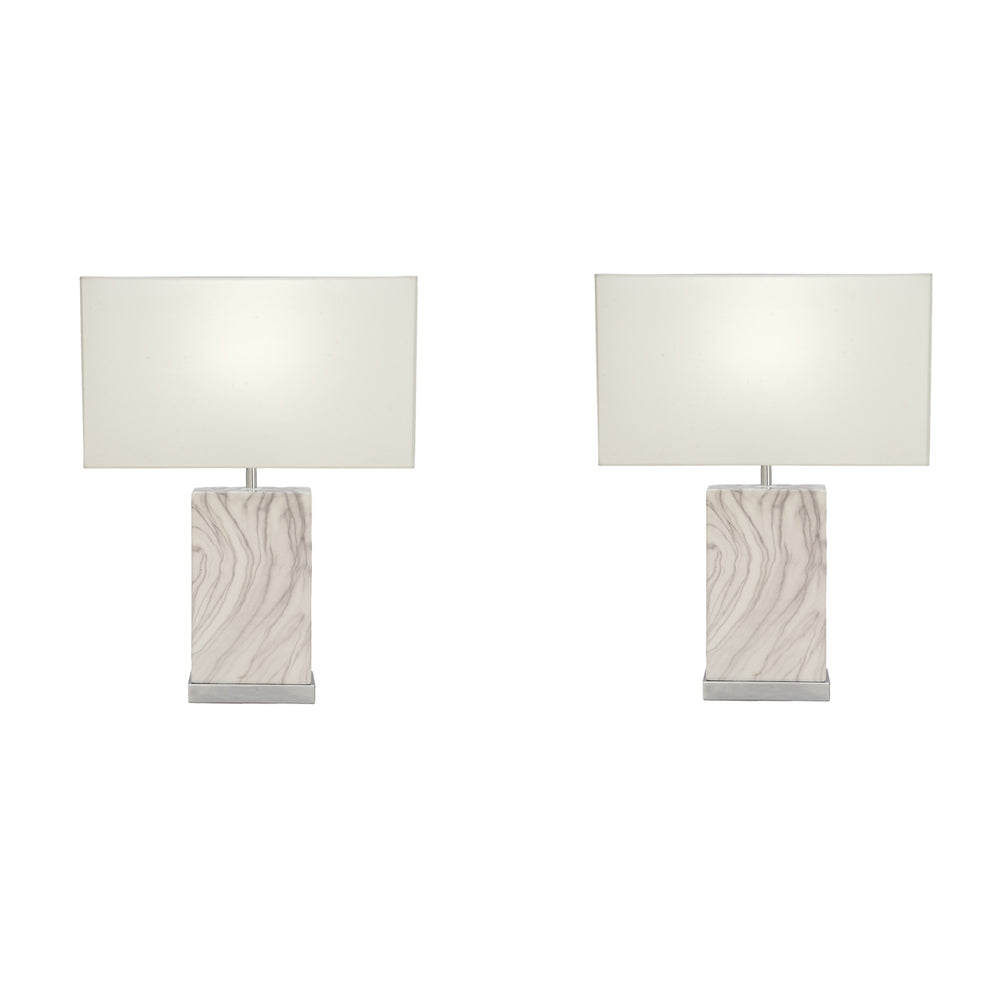 Urban Designs Amalia 23-Inch Rectangle Ceramic 2-Piece Table Lamp Set
