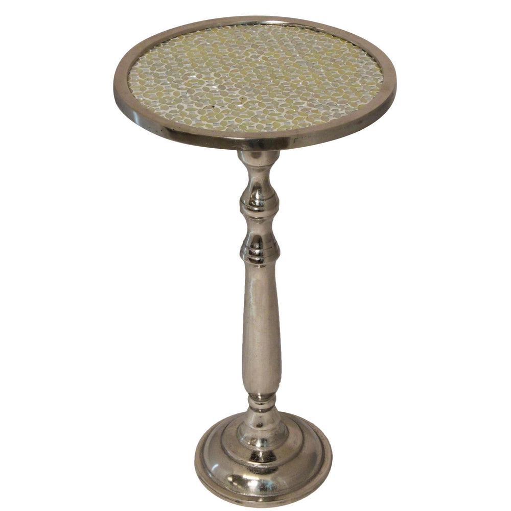 "Urban Designs 25"" Emily Mosaic Silver Round Accent Table"