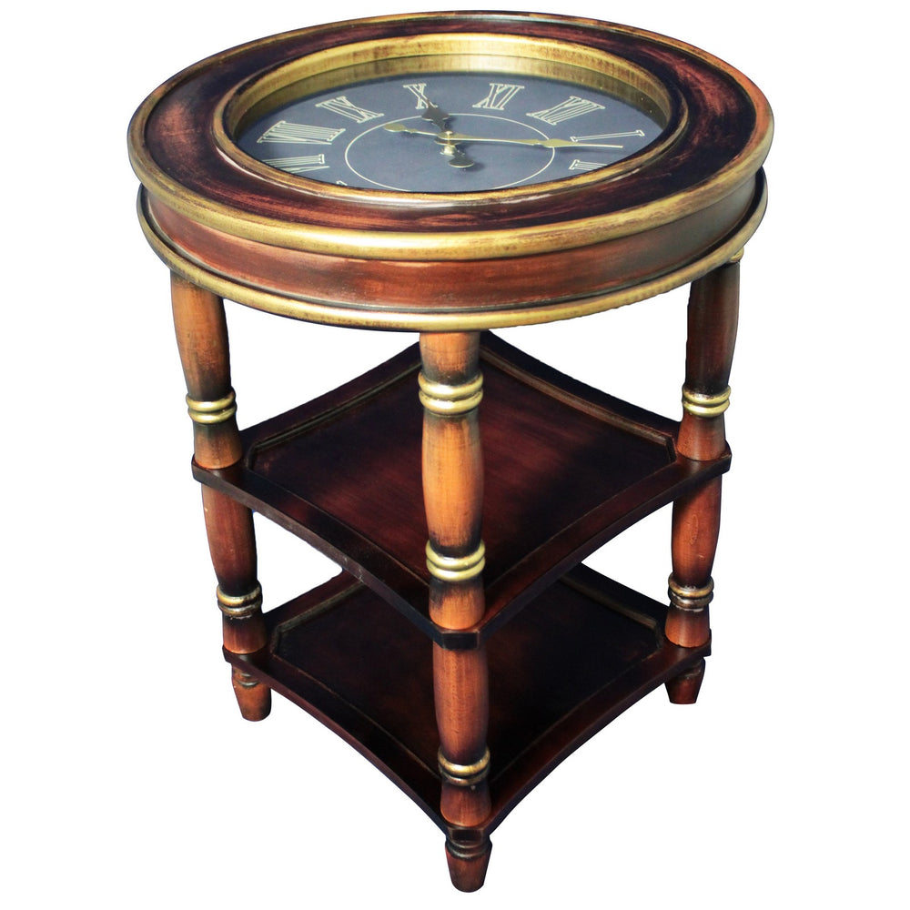 Urban Designs Dual shelf Wood Accent Clock Table