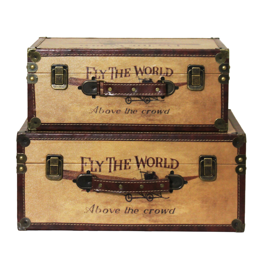 Urban Designs Fly the World Wooden Trunk Set of 2