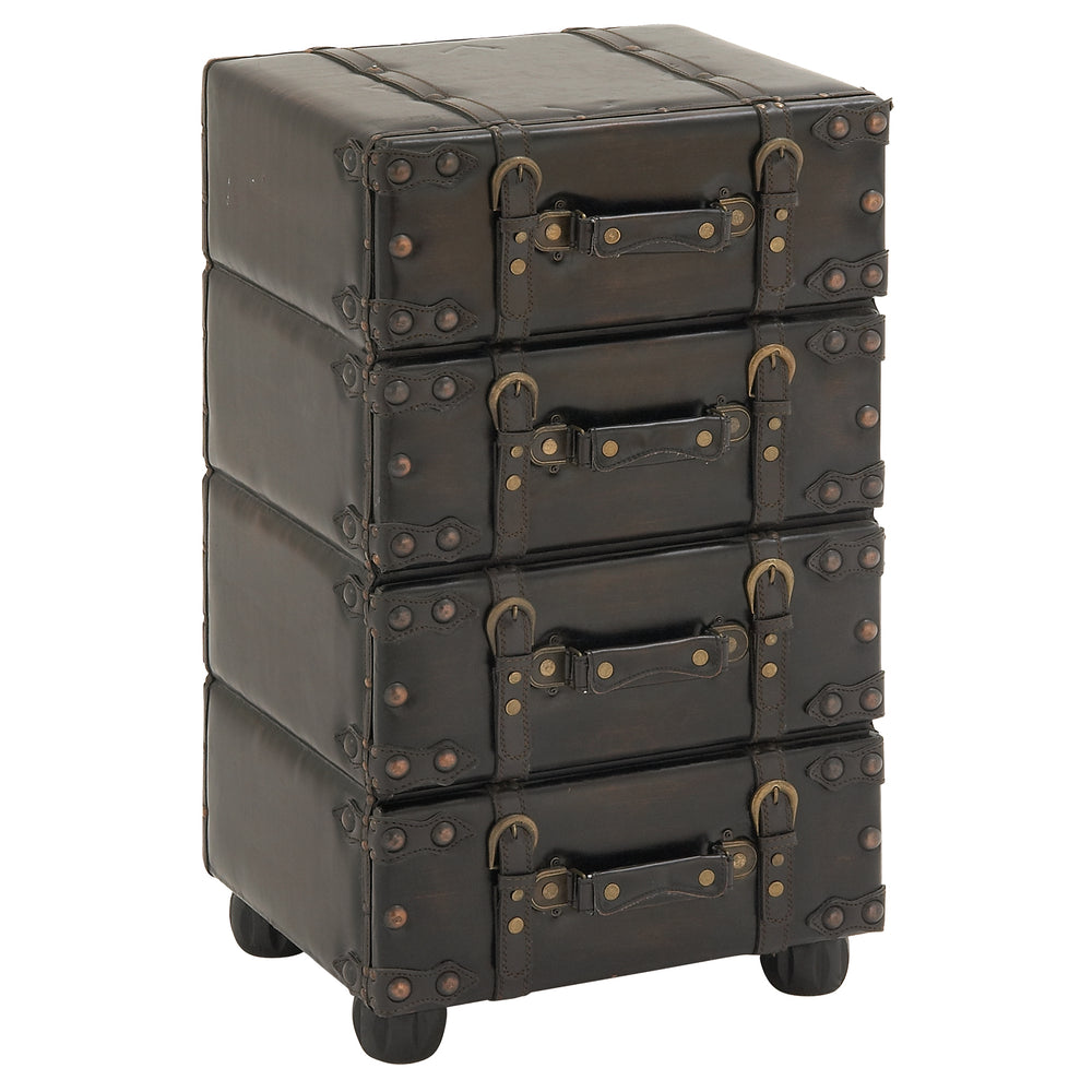 Urban Designs Hamilton Wood and Leather Side Chest