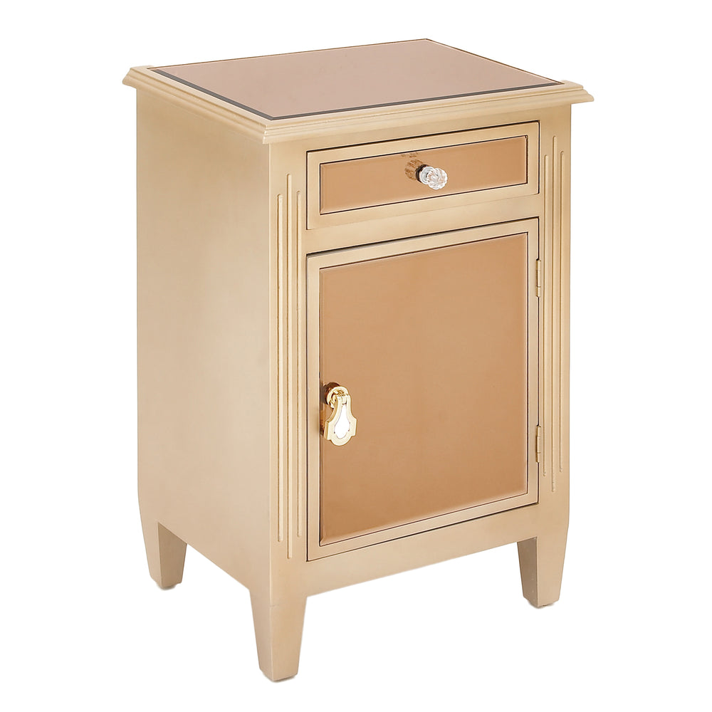 Urban Designs Copper Mirrored Cabinet Side Table