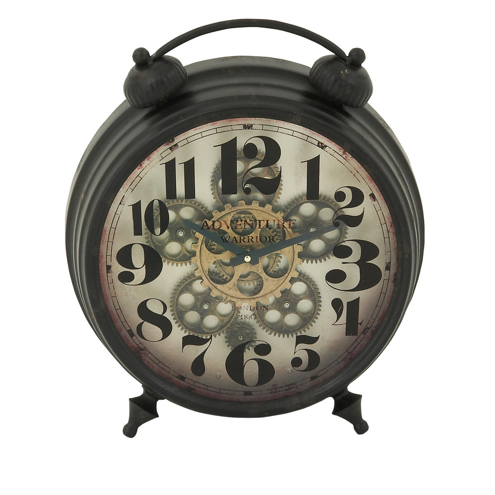 "Urban Designs Adventure Warrior London 18"" Industrial Moving Gears Table Clock"