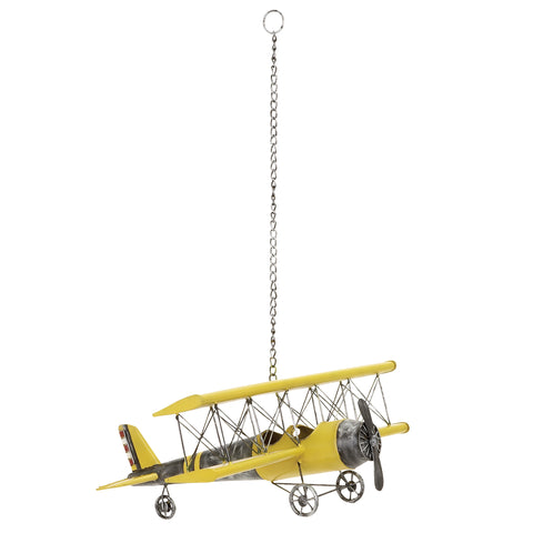 Urban Designs Metal Bi-Plane Airplane Model Toy Replica - Yellow