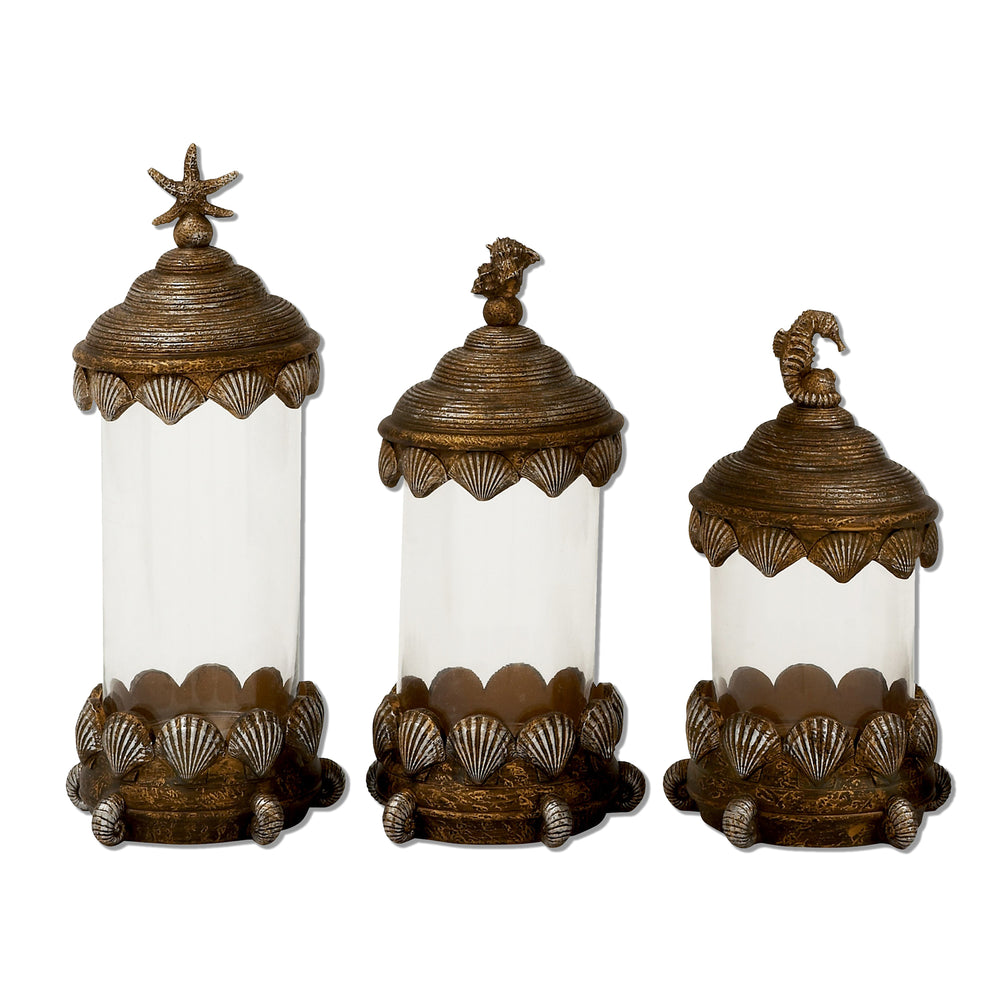 Urban Designs The Beach 3-Piece Decorative Glass Canister Set