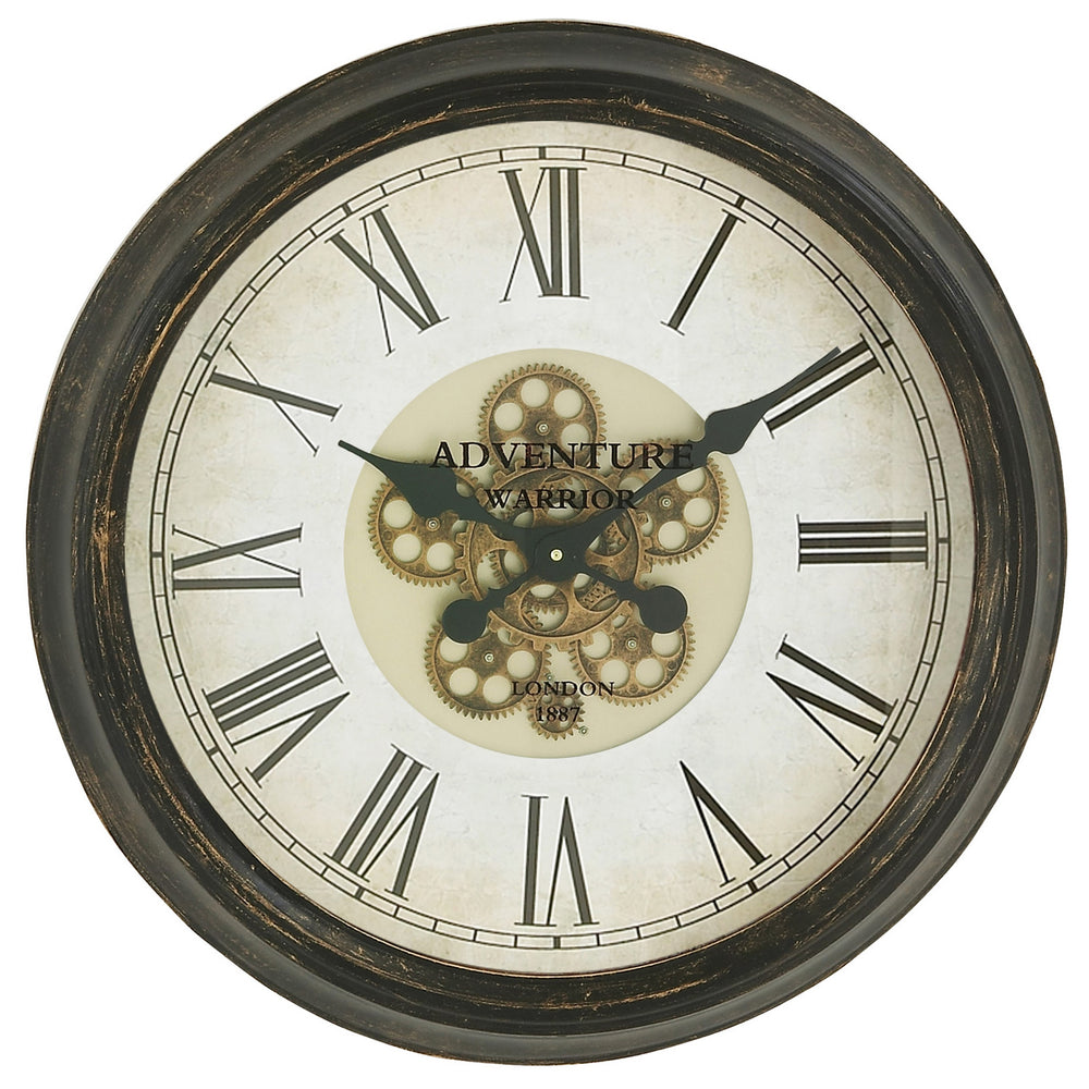 "Urban Designs Adventure Warrior London 24"" Industrial Gears Bronze Wall Clock"