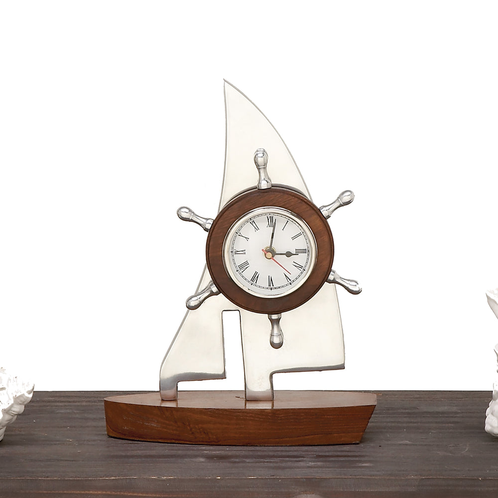 Urban Designs Aluminum Wooden Tabletop Boat Clock