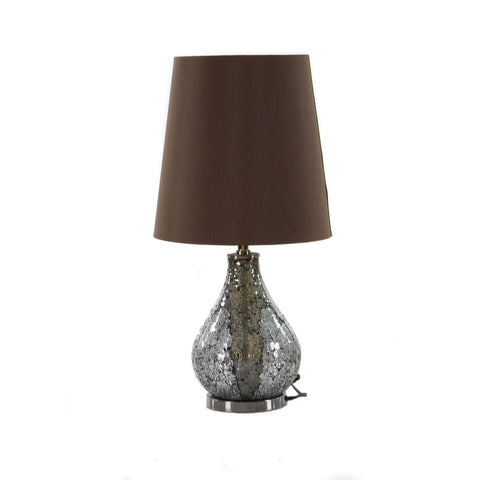 "Urban Designs Mosaic Glass Mirror 26"" Table Lamps (Set of 2) - Silver & Brown"