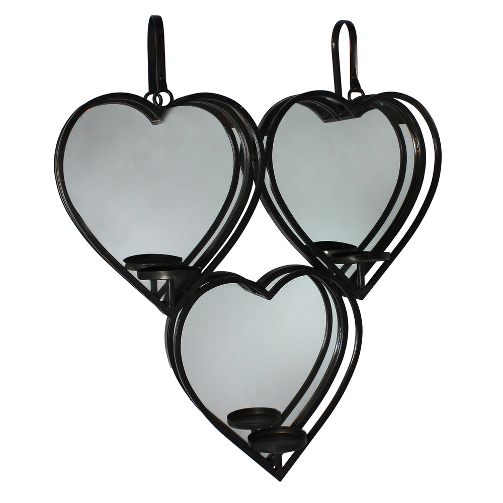 Urban Designs Three Hearts Mirrored Candle Wall Sconces Set