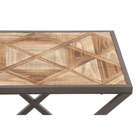 Urban Designs Patterned Wood Top X-Leg Accent Table