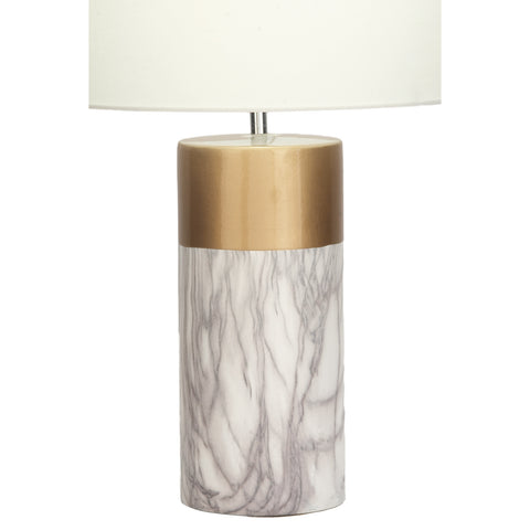 Urban Designs White and Gold Column 24-Inch Ceramic Table Lamp