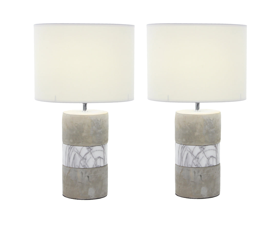 Urban Designs Elegant Concrete 24-inch Table Lamp Set