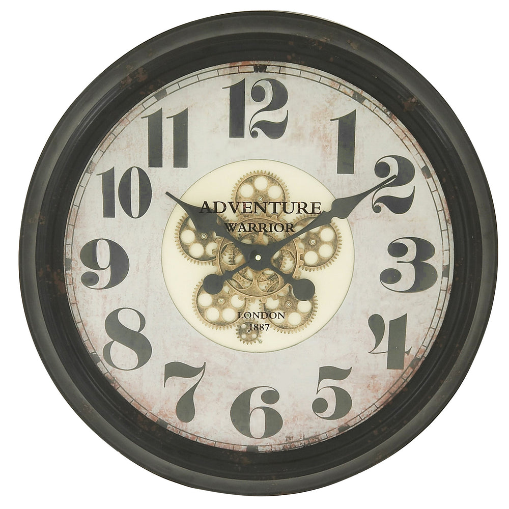 "Urban Designs Adventure Warrior London 24"" Industrial Moving Gears Round Black Wall Clock"