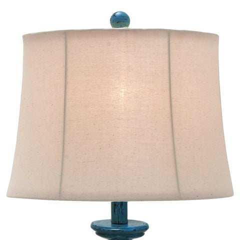 "Urban Designs Kerry Distressed Blue Polystone 31"" Pedestal Table Lamp - Set of 2"