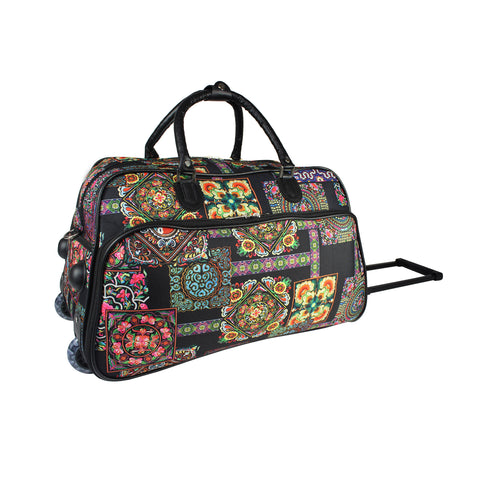 World Traveler 21-Inch Carry-On Rolling Duffel Bag - Multi Patchwork