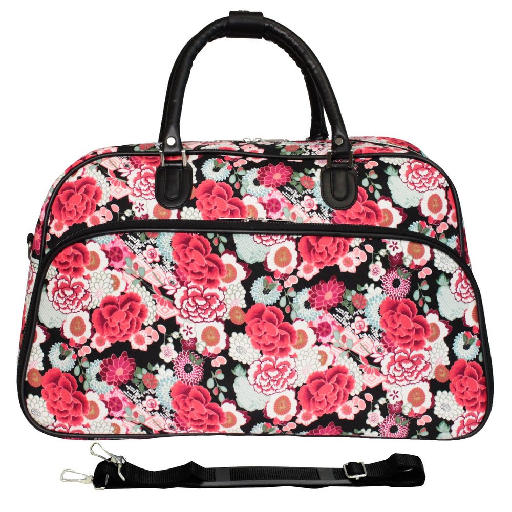 "World Traveler 21"" Carry-On Shoulder Tote Duffel Bag - Flower"