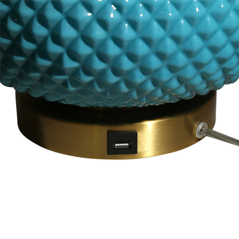 "Urban Designs Cora Round Glass 28"" Table Lamp with USB Port - Blue"
