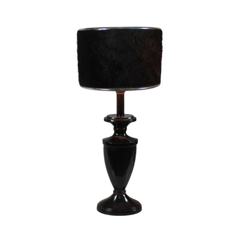 Urban Designs 24-Inch Espresso Trophy Metal and Brown Cowskin Table Lamp