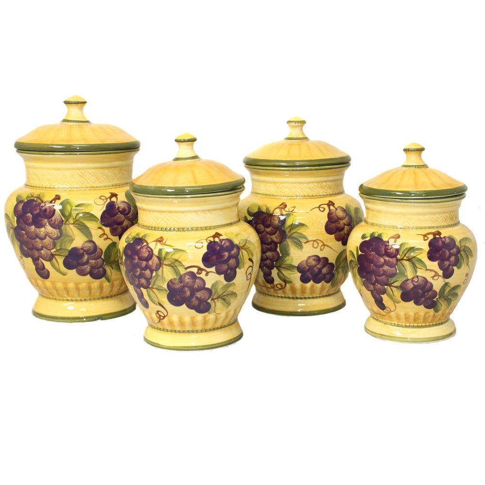 Sonoma Collection Deluxe Hand-Painted 4-Piece Kitchen Canister Set