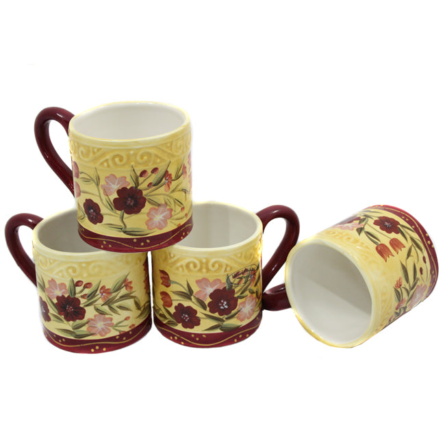 Floral Garden Collection Deluxe Handcrafted 4-Piece Coffee Mug Set
