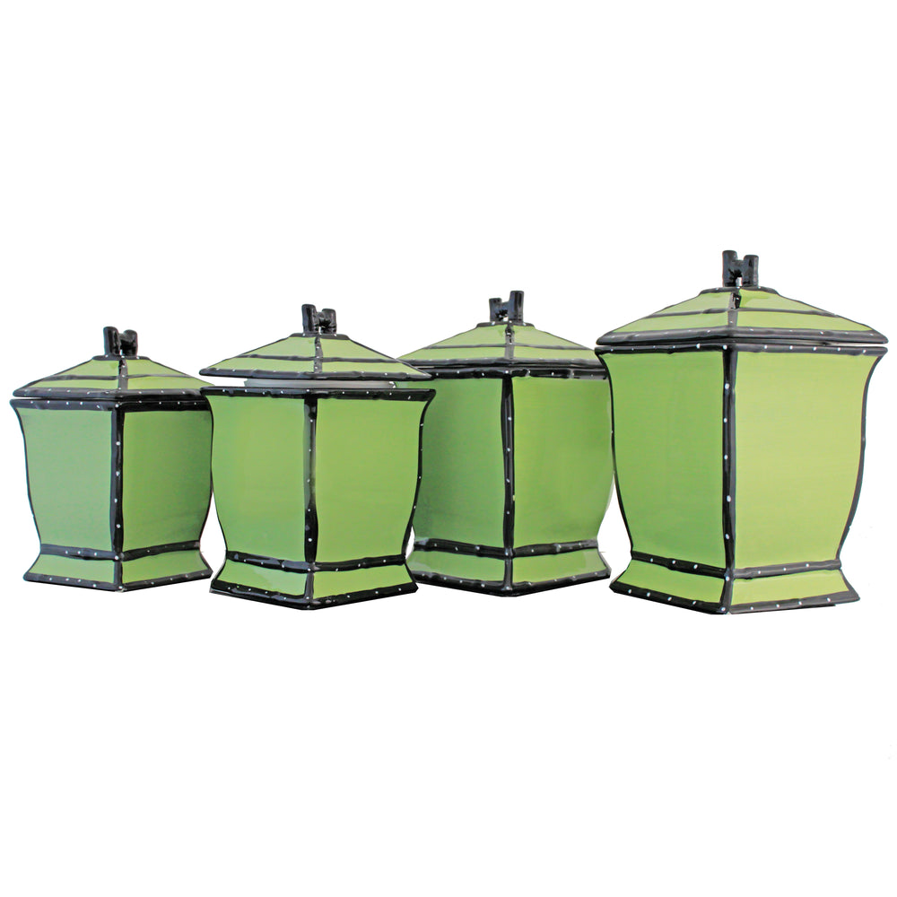 Country French Hand-painted 4-piece Green Square Canister Set