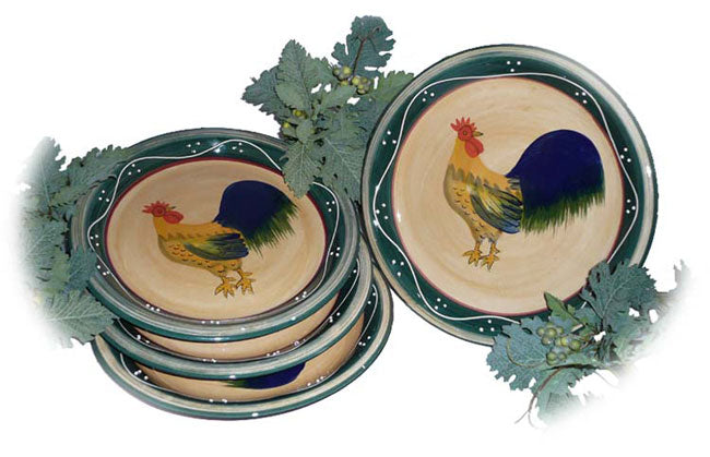 Classic Rooster Collection Deluxe Ceramic 4-Piece Serving Plate Set