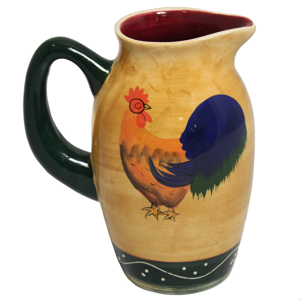 Classic Rooster Collection Deluxe Ceramic Hand-Painted Water Pitcher
