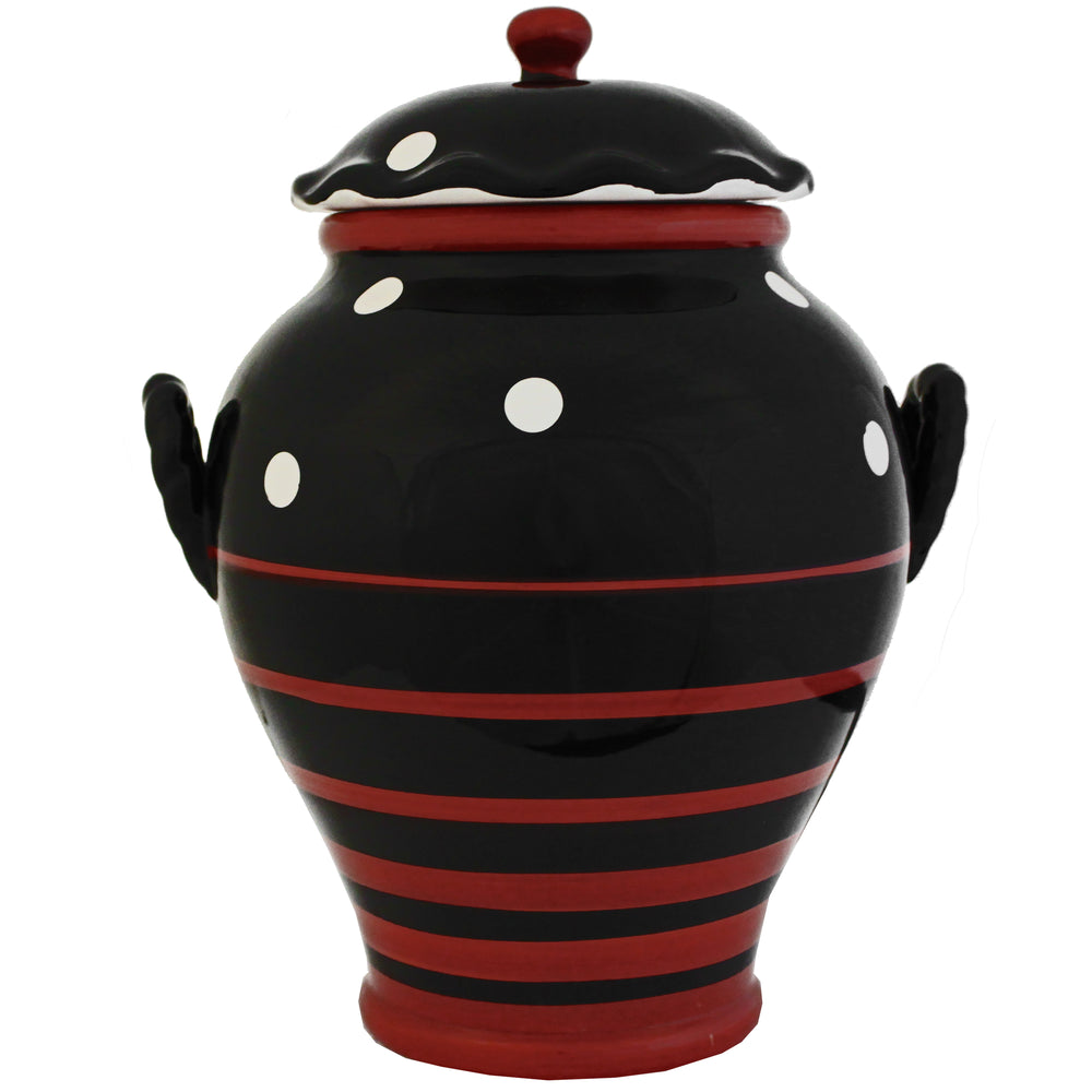 Multistriped Polka Dot Collection Hand-painted Cookie Jar