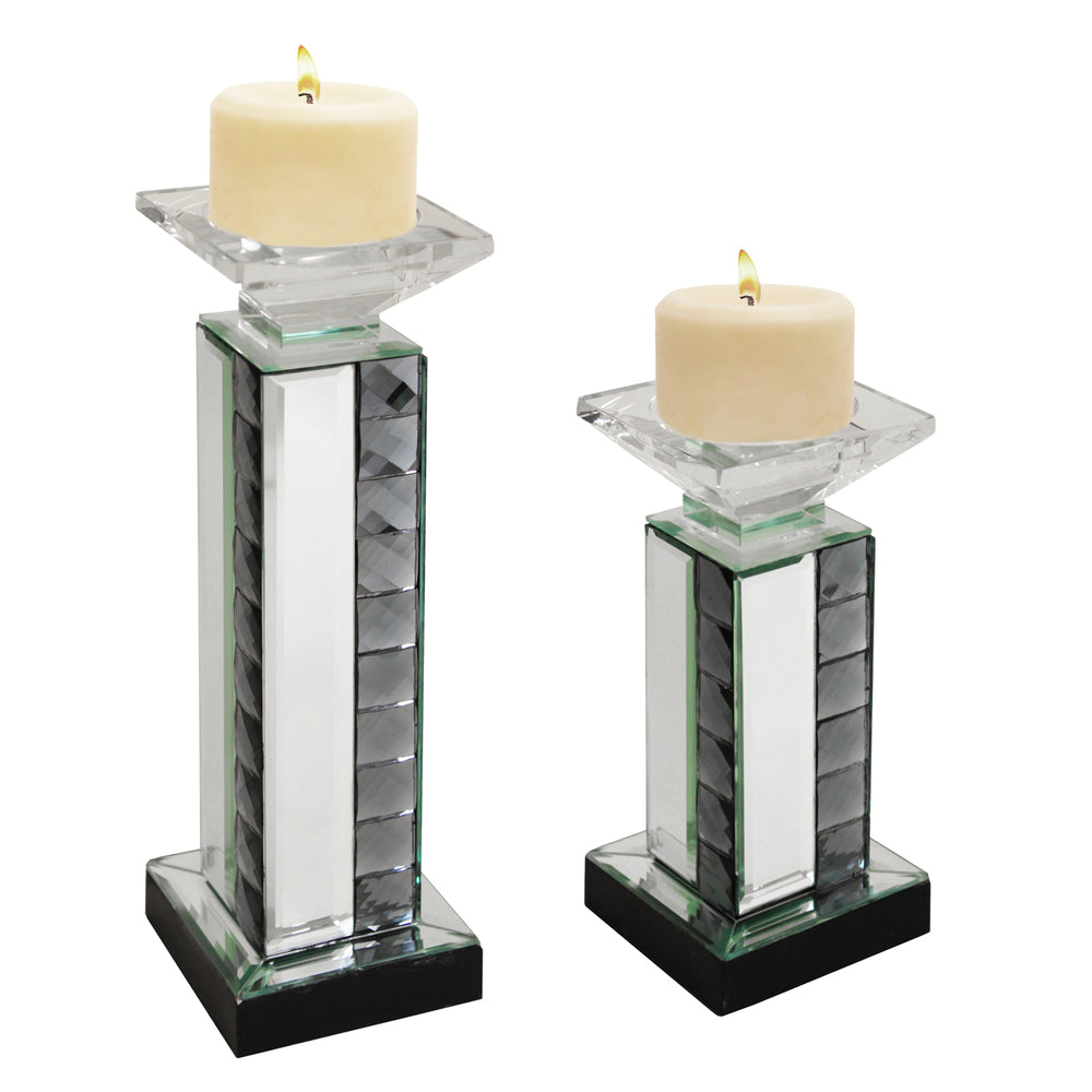 Urban Designs Crystal Mirror Glass Candle Holder Set - Set of 2