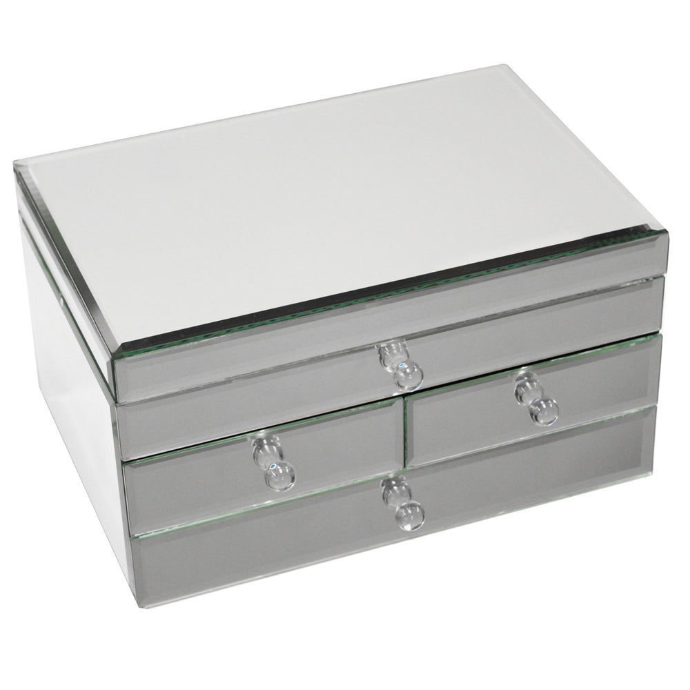 Urban Designs Legacy Mirrored Glass 3-Drawer Jewelry Box