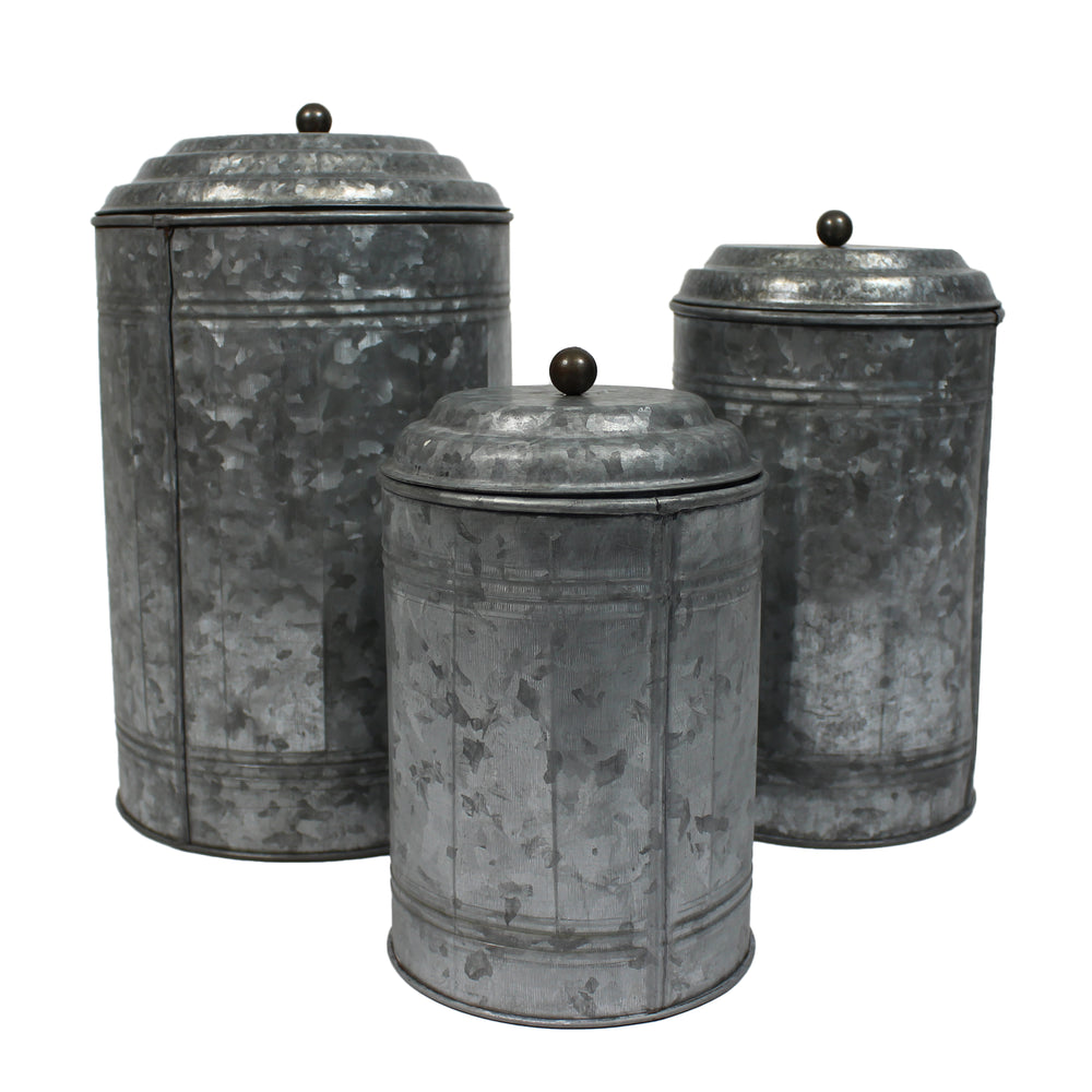 Urban Designs Farmhouse Galvanized Steel 3-Piece Canister Set
