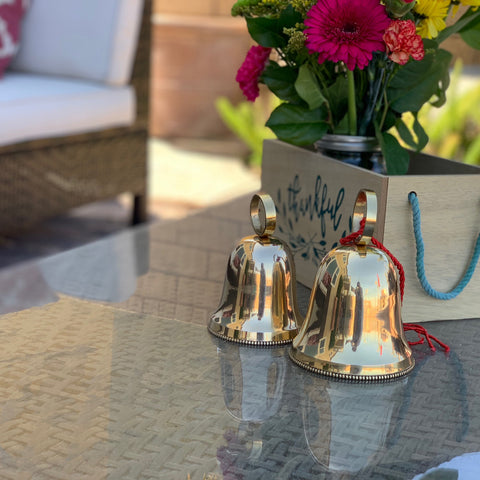 Urban Designs Handcrafted Solid Brass Christmas and Holiday 2-Piece Bell Set