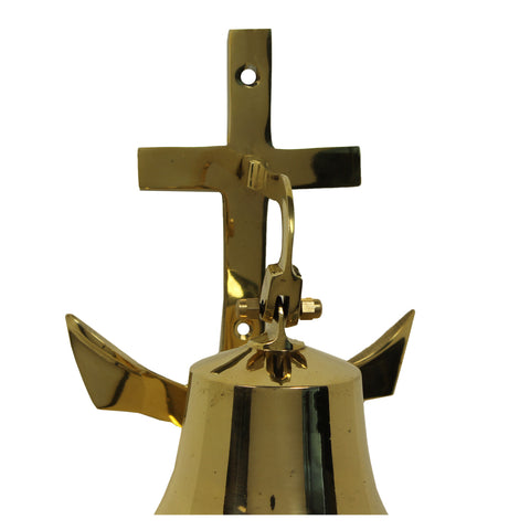 Urban Designs Small Nautical Solid Brass Ship Bell With Anchor Mounting Bracket