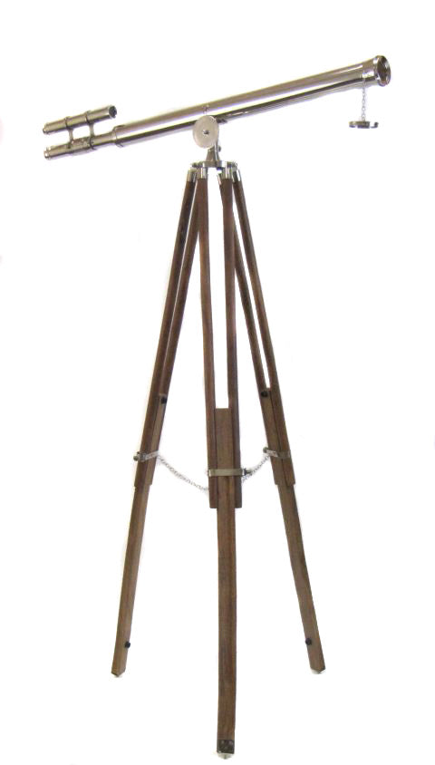 Antique Replica Brass Telescope with Wood Tripod Floor Stand - Chrome Plated