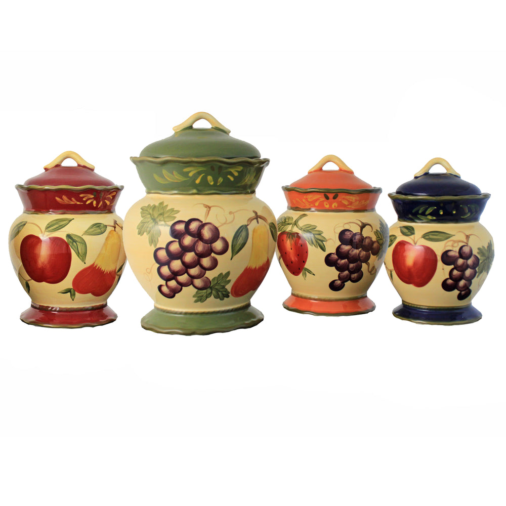 Harvest Hand Painted Food Storage Canister 4-Piece Set
