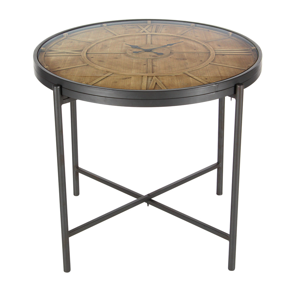 Urban Designs Aldo Antique Wood Clock Round End Accent Table