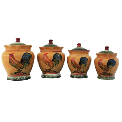 Rooster Hand Painted Food Storage Canister 4-Piece Set
