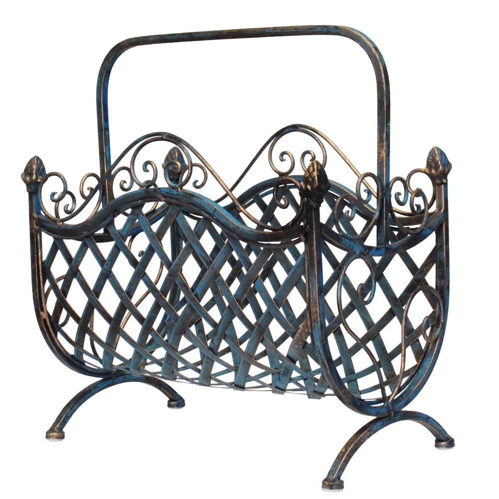 Urban Designs Handcrafted Decorative Iron Woven Magazine Rack