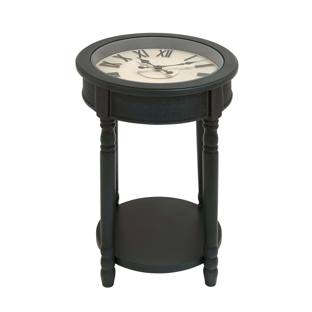 "Urban Designs 26"" Round Wooden Clock Accent Table - Dark Teal"