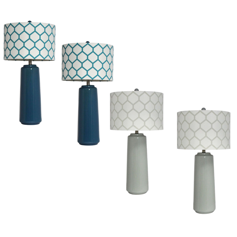 Urban Designs 2-Piece Ceramic Table Lamp with Honeycomb Shade