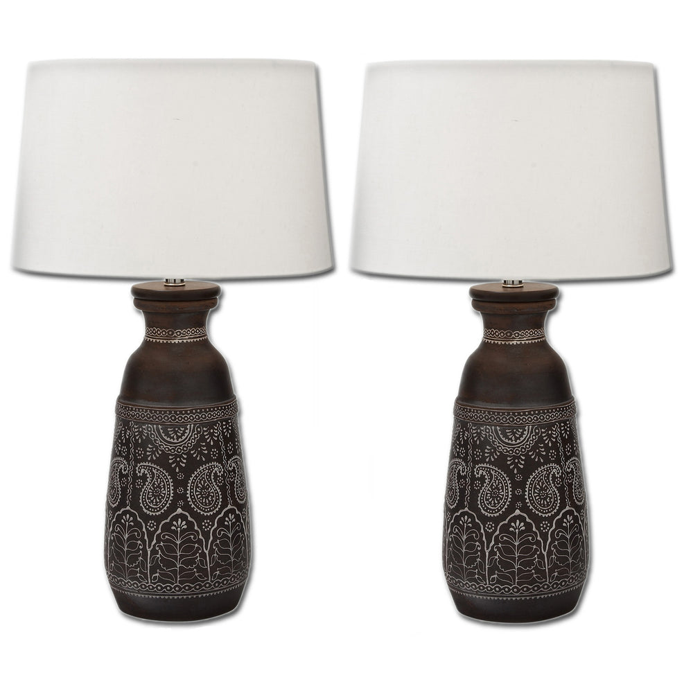Urban Designs Artisan Hand-crafted Unglazed Ceramic Table Lamps - Set of 2