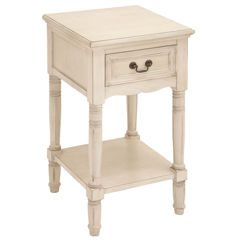 Urban Designs Solid Wood Night Stand Table - Antiqued White