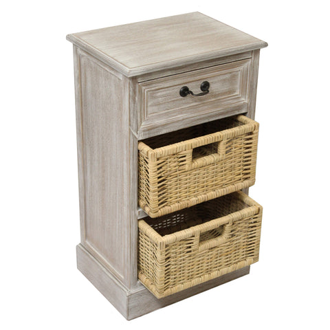 Urban Designs Weathered 3-Drawer Storage Chest Night Stand with Wicker Baskets