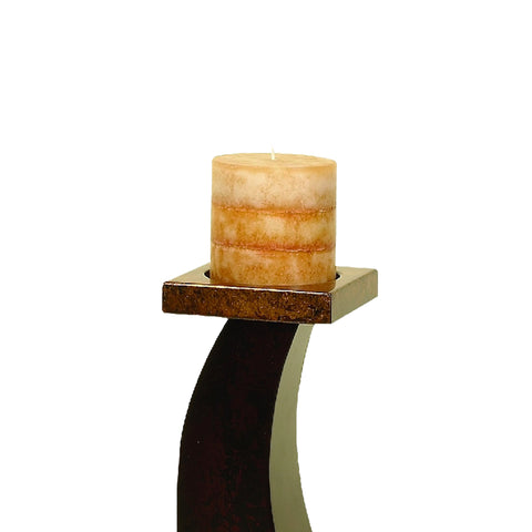 Alisha Wood Pillar Candle Holders - Set of 3